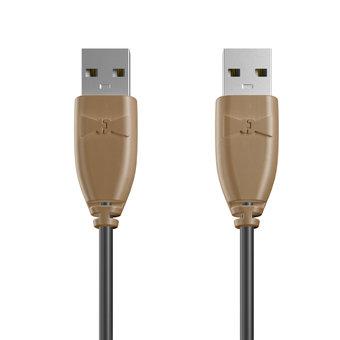 Câble USB (mâle / mâle) 1m Beige et Noir (sans marquage)