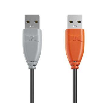 Câble USB (mâle / mâle) 1m Gris, Noir et Orange (marquage image «swrebels»)
