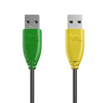 Câble USB (mâle / mâle) 1m Vert, Noir et Jaune (marquage motif «avocado»)
