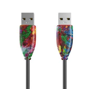 Câble USB (mâle / mâle) 1m Multicouleurs et Noir (sans marquage)