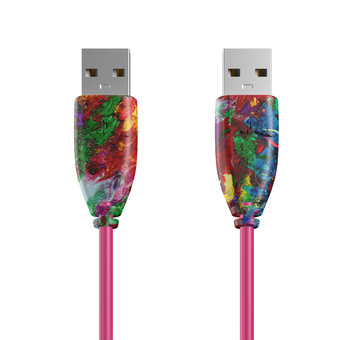Câble USB (mâle / mâle) 1m Multicouleurs et Rose (sans marquage)