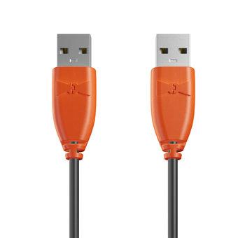 Câble USB (mâle / mâle) 1m Orange et Noir (sans marquage)