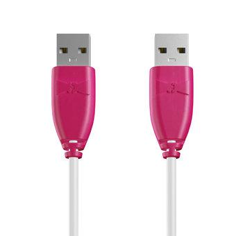 Câble USB (mâle / mâle) 1m Rose et Blanc (marquages image «flamantrose» & image «flamantrose»)