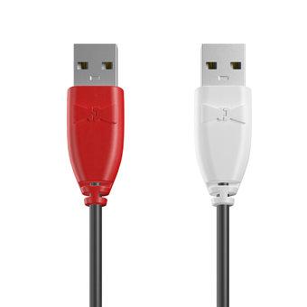 Câble USB (mâle / mâle) 1m Rouge, Noir et Blanc (marquage image «guitar»)