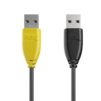 Câble USB (mâle / mâle) 1m Jaune, Noir et Noir (marquage image «batman»)