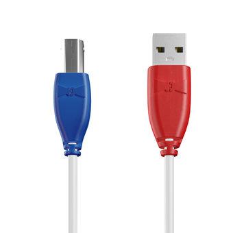 Câble USB-B 1m Bleu, Blanc et Rouge (sans marquage)