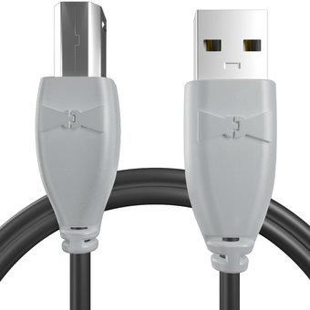 Câble USB-B 1m Gris et Noir (marquages texte «DJ» & image «cd»)