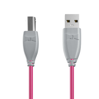 Câble USB-B 1m Gris et Rose (marquages image «shell» & image «shell»)