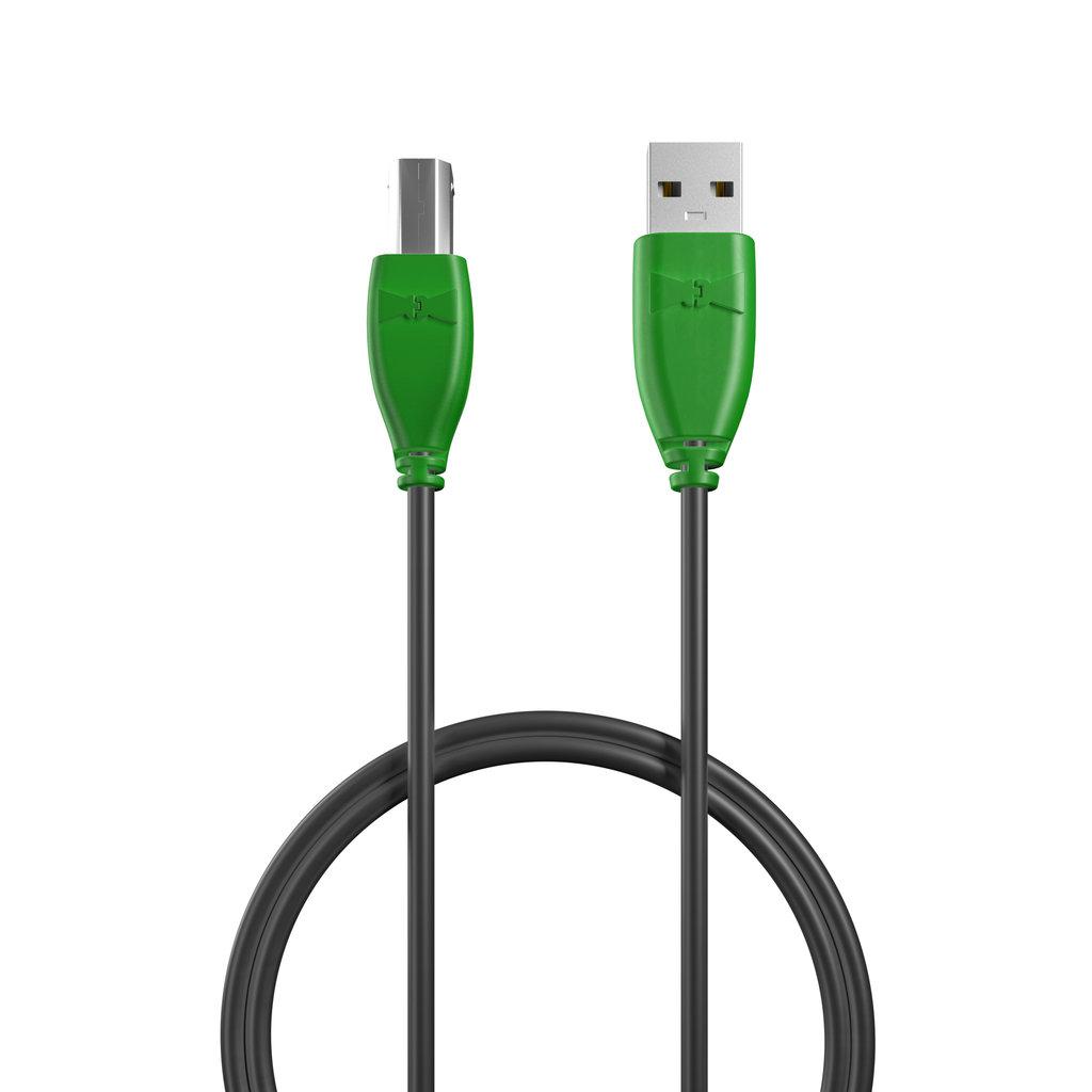 Câble USB-B 1m Vert et Noir (sans marquage) - Vue câble