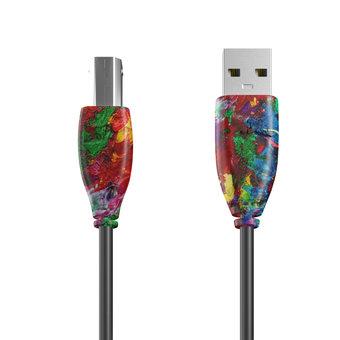 Câble USB-B 1m Multicouleurs et Noir (sans marquage)