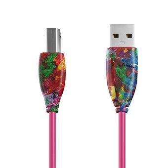 Câble USB-B 1m Multicouleurs et Rose (sans marquage)