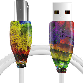 Câble USB-B 1m Multicouleurs et Blanc (sans marquage)