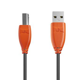 Câble USB-B 1m Orange et Noir (sans marquage)