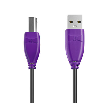 Câble USB-B 1m Violet et Noir (marquage texte «JE SUIS|À PAPA»)