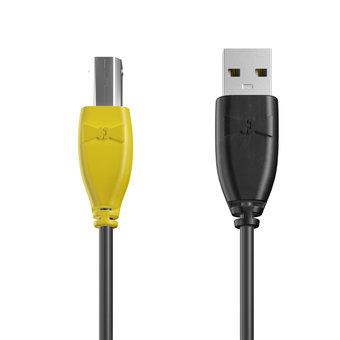 Câble USB-B 1m Jaune, Noir et Noir (marquage image «batman»)