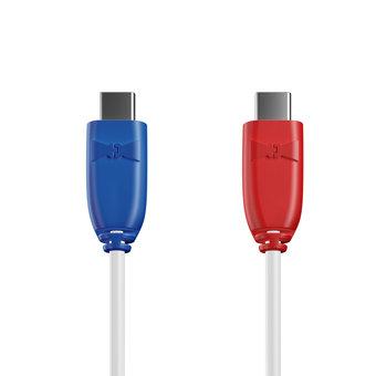 Câble USB Type C vers C 1m Bleu, Blanc et Rouge (sans marquage)