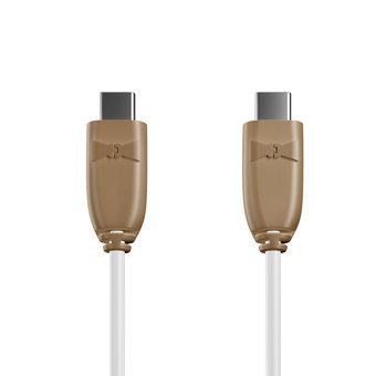 Câble USB Type C vers C 1m Beige et Blanc (marquages motif «wood» & motif «wood»)
