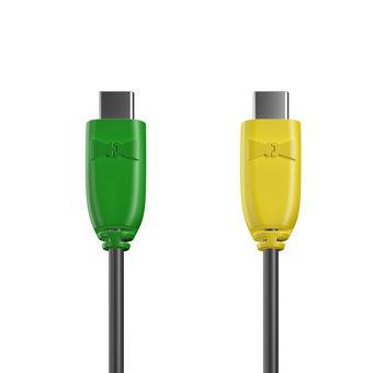 Câble USB Type C vers C 1m Vert, Noir et Jaune (marquage motif «avocado»)