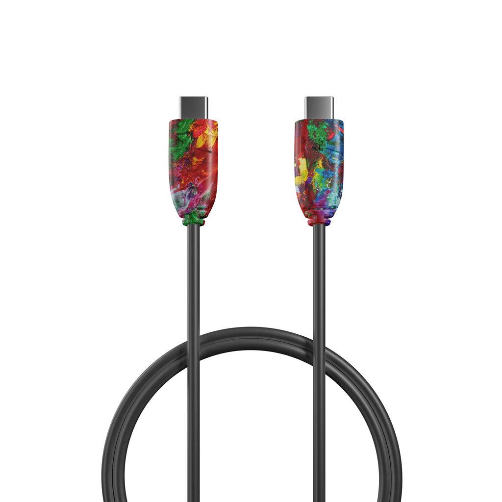 Câble USB Type C vers C 2m Multicouleurs et Noir () - Vue câble