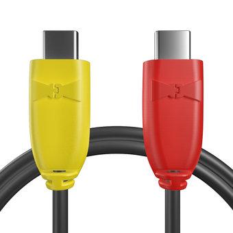 Câble USB Type C vers C pour Samsung Galaxy S8+ Jaune, Noir et Rouge - 50cm