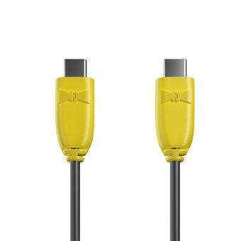 Câble USB Type C vers C 1m Jaune et Noir (marquage image «djplatine»)