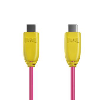 Câble USB Type C vers C 1m Jaune et Rose (sans marquage)