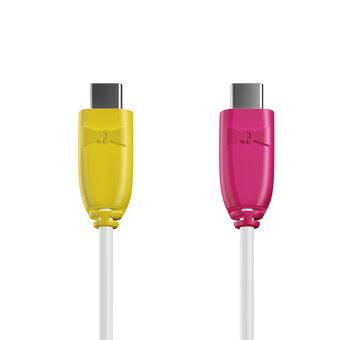 Câble USB Type C vers C 1m Jaune, Blanc et Rose (marquages motif «banana» & motif «banana»)