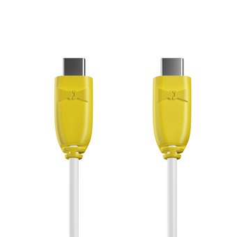 Câble USB Type C vers C 1m Jaune et Blanc (marquages image «ananas» & image «ananas»)