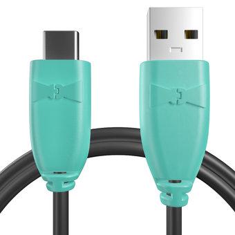 Câble USB Type C 1m Bluemint et Noir (marquages texte «Papounet!» & image «bestdadinthegalaxy»)