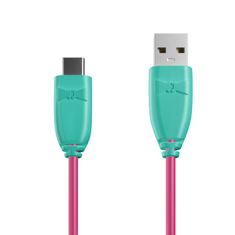 Câble USB Type C 1m Bluemint et Rose (marquages texte «Sing|Sing !» & image «microphone»)