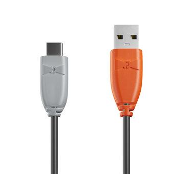 Câble USB Type C 1m Gris, Noir et Orange (marquage image «swrebels»)