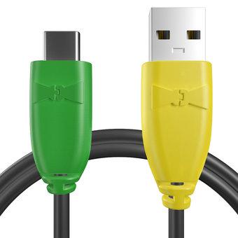Câble pour Sony Xperia X Compact Vert, Noir et Jaune - 50cm