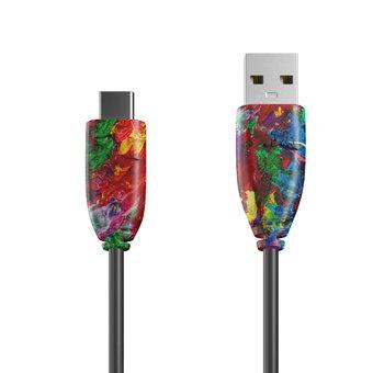 Câble USB Type C 1m Multicouleurs et Noir (sans marquage)