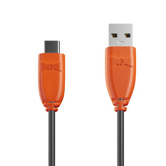 Câble USB Type C 1m Orange et Noir (marquage image «superdad»)