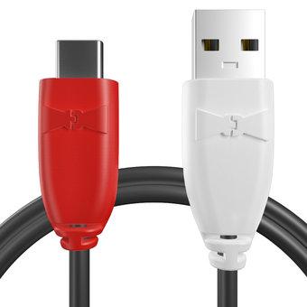 Câble USB Type C tressé Rouge, Noir et Blanc - 50cm