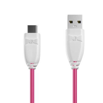 Câble USB Type C 1m Blanc et Rose (sans marquage)