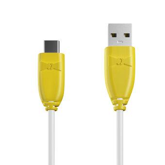 Câble USB Type C 1m Jaune et Blanc (marquages image «ananas» & image «ananas»)