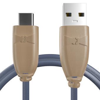 Câble pour Samsung Galaxy S8 Beige et Tissu bleu indigo - 50cm