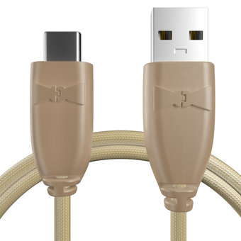 Câble USB Type C tressé 1m Beige et Tissu sable (marquages image «cat» & motif «panther»)