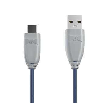 Câble Tissu USB Type C 1m Gris et Tissu bleu indigo (marquages motif «passport» & motif «map»)