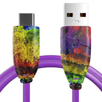 Câble pour Sony Xperia X Compact Multicouleurs et Tissu violet - 50cm