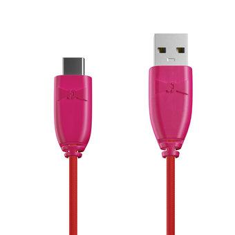 Câble Tissu USB Type C 1m Rose et Tissu rouge (marquages image «rose» & image «rose»)