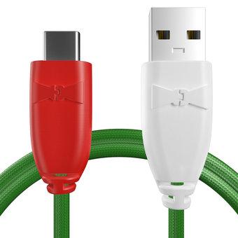 Câble pour Sony Xperia X Compact Rouge, Tissu vert et Blanc - 50cm