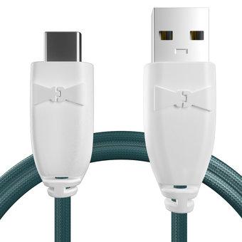 Câble pour Huawei nova 2 plus Blanc et Tissu bleu canard - 50cm