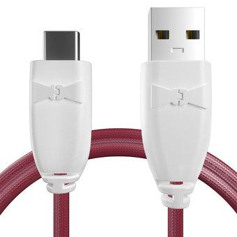 Câble pour Sony Xperia X Compact Blanc et Tissu bordeaux - 50cm