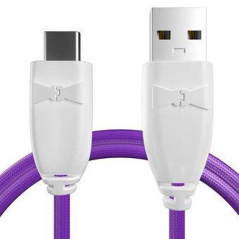 Câble pour Sony Xperia X Compact Blanc et Tissu violet - 50cm