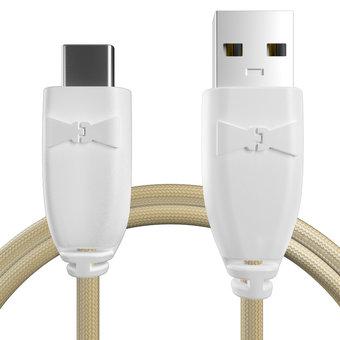 Câble USB Type C tressé 1m Blanc et Tissu sable (marquages motif «morocco» & motif «morocco»)