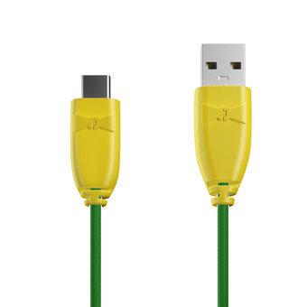 Câble Tissu USB Type C 1m Jaune et Tissu vert (marquages motif «avocado» & motif «avocado»)