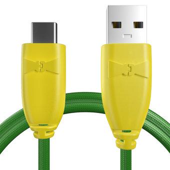 Câble pour Sony Xperia X Compact Jaune et Tissu vert - 50cm