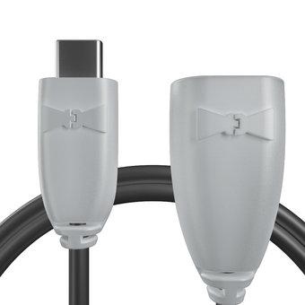 Câble USB Type C vers A femelle pour Motorola Moto Z Force Gris et Noir - 10cm
